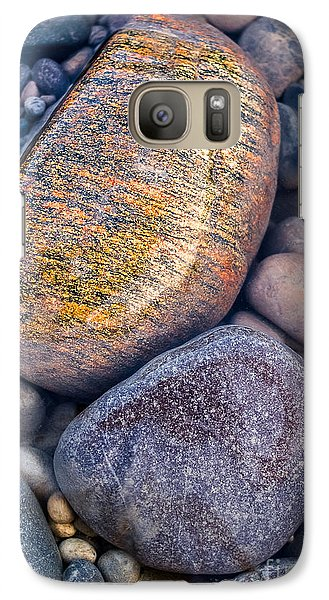Galaxy Case featuring the photograph Golden Pebble by Alexander Kunz