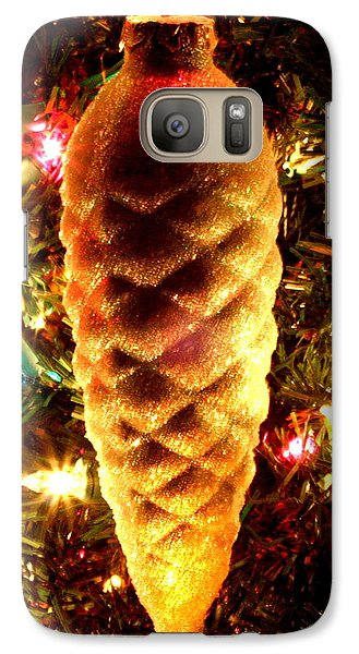 Galaxy Case featuring the photograph Golden Pine Cone by Diane Merkle