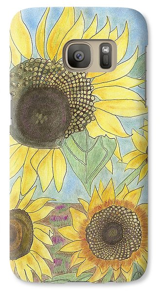 Galaxy Case featuring the drawing Golden Quartet by Arlene Crafton
