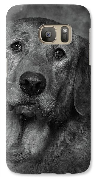 Galaxy Case featuring the photograph Golden Retriever In Black And White by Greg Mimbs
