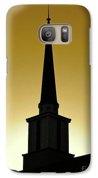 Galaxy Case featuring the photograph Golden Sky Steeple by CML Brown