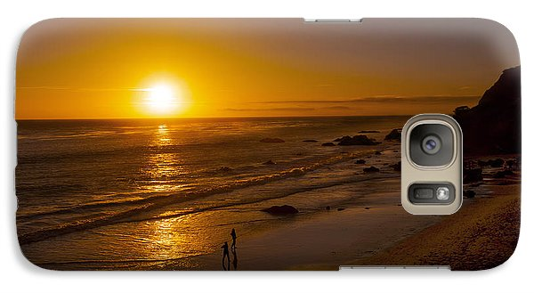 Galaxy Case featuring the photograph Golden Sunset Walk On Malibu Beach by Jerry Cowart