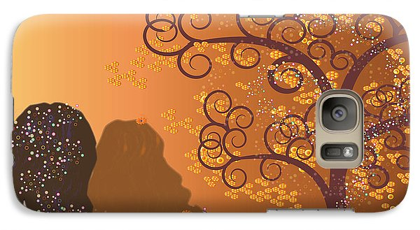 Galaxy Case featuring the digital art Golden Swirl Girls by Kim Prowse