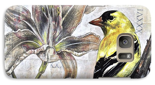 Galaxy Case featuring the painting Goldfinch And Lily by Sheri Howe