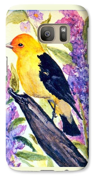Galaxy Case featuring the painting Goldfinch by Gail Kirtz