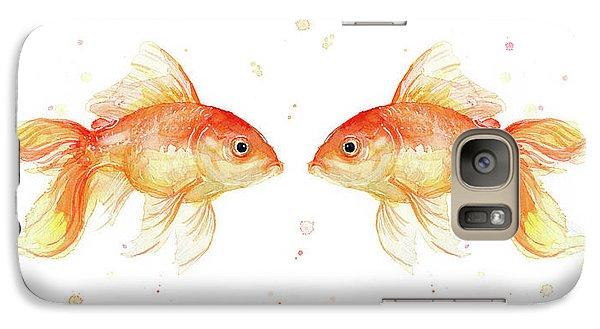 Goldfish Love Watercolor Galaxy Case by Olga Shvartsur