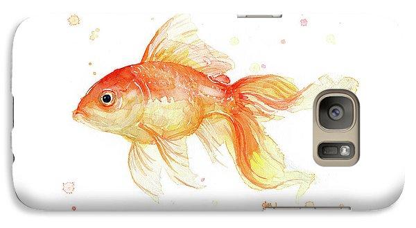 Goldfish Painting Watercolor Galaxy Case by Olga Shvartsur