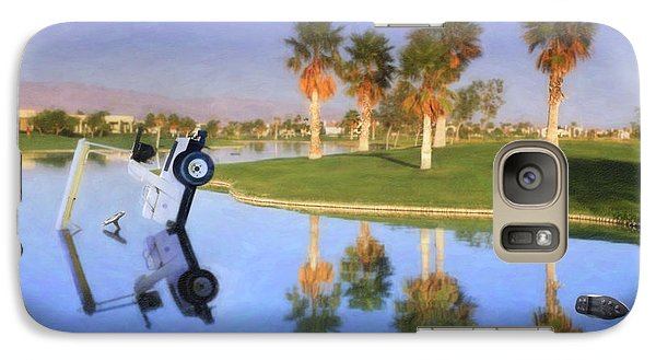 Galaxy Case featuring the photograph Golf Cart Stuck In Water by David Zanzinger
