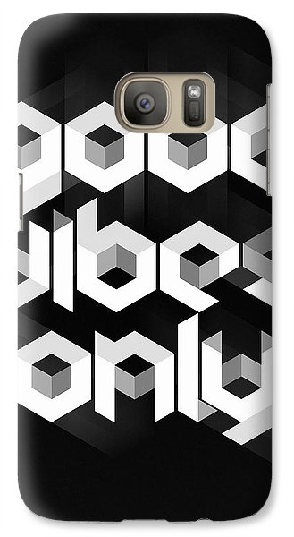 Good Vibes Only Quote Galaxy Case by Taylan Apukovska
