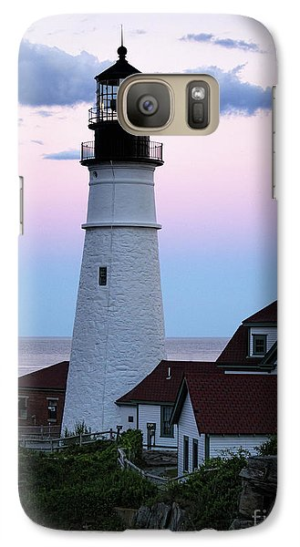Galaxy Case featuring the photograph Goodnight Moon, Goodnight Lighthouse  -98588 by John Bald