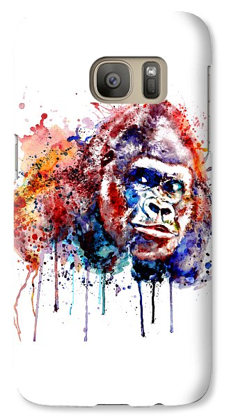 Galaxy Case featuring the mixed media Gorilla by Marian Voicu