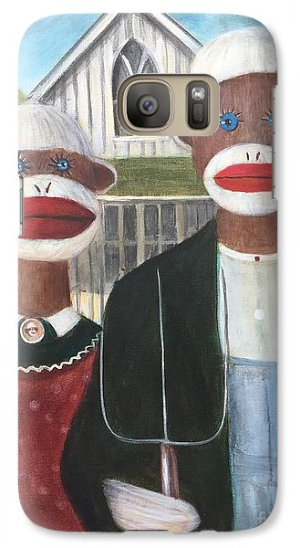 Galaxy Case featuring the painting Gothic American Sock Monkeys by Randol Burns