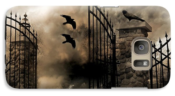 Gothic Surreal Fantasy Ravens Gated Fence  Galaxy S7 Case by Kathy Fornal