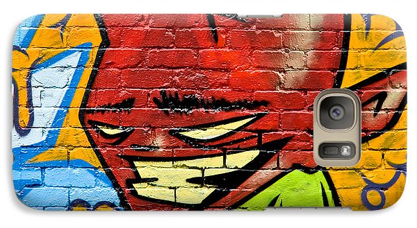 Galaxy Case featuring the painting Graffity Demon On The Textured Brick Wall by Yurix Sardinelly
