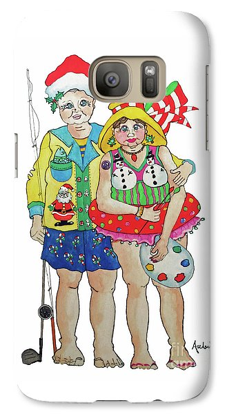 Galaxy Case featuring the painting Gram - Cracker And Papa by Rosemary Aubut