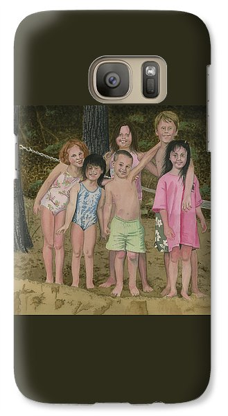 Galaxy Case featuring the painting Grandkids On The Beach by Ferrel Cordle