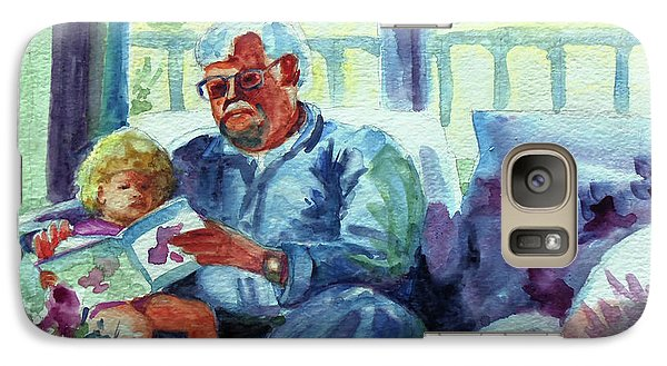 Galaxy Case featuring the painting Grandpa Reading by Kathy Braud