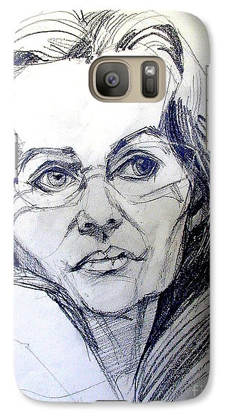 Galaxy Case featuring the drawing Graphite Portrait Sketch Of A Woman With Glasses by Greta Corens