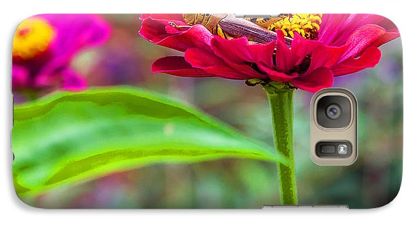 Galaxy Case featuring the photograph Grasshopper And Flower by Edward Peterson