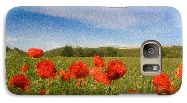 Galaxy Case featuring the photograph Grassland And Red Poppy Flowers by Jean Bernard Roussilhe