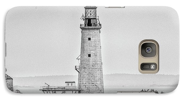 Galaxy Case featuring the photograph Graves Lighthouse- Boston, Ma - Black And White by Peter Ciro