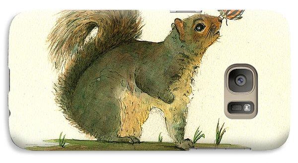 Gray Squirrel Butterfly Galaxy Case by Juan Bosco