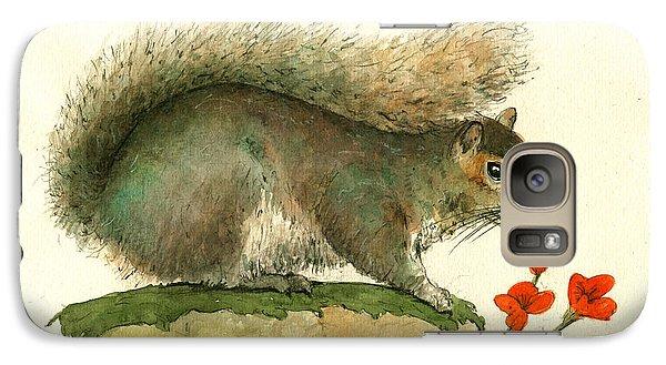 Gray Squirrel Flowers Galaxy S7 Case by Juan Bosco