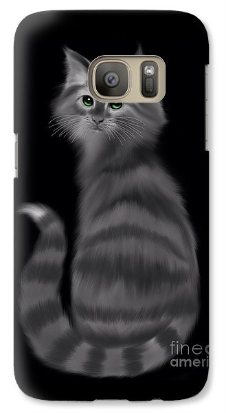 Galaxy Case featuring the painting Gray Striped Cat by Nick Gustafson