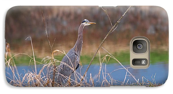 Galaxy Case featuring the photograph Great Blue Heron By The River by Sharon Talson