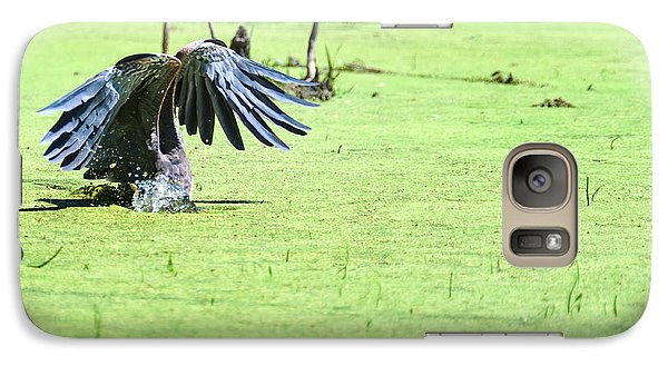 Galaxy Case featuring the photograph Great Blue Heron Dunk by Edward Peterson