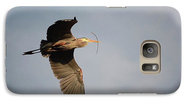 Galaxy Case featuring the photograph Great Blue Heron In Flight by Ann Bridges
