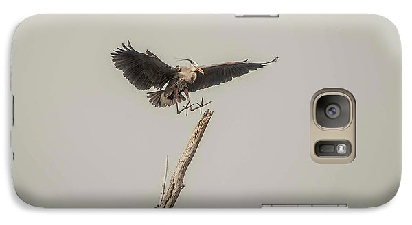 Galaxy Case featuring the photograph Great Blue Heron Landing by David Bearden
