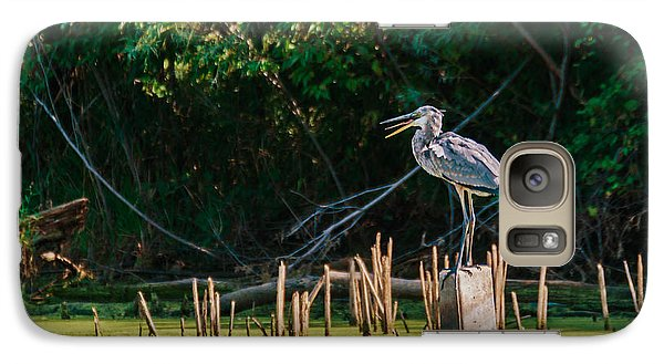 Galaxy Case featuring the photograph Great Blue Heron Mouth by Edward Peterson