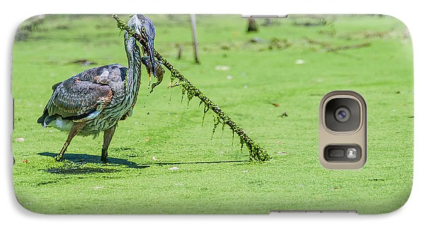 Galaxy Case featuring the photograph Great Blue Heron Mouthful by Edward Peterson