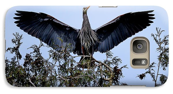 Galaxy Case featuring the photograph Great Blue Heron Nesting 2017 - 7 by Terry Elniski