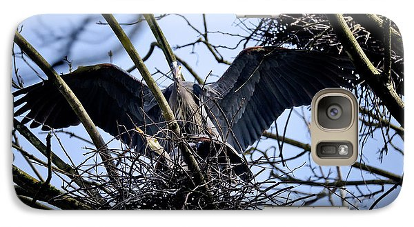 Galaxy Case featuring the photograph Great Blue Heron Nesting 2017 - 9 by Terry Elniski