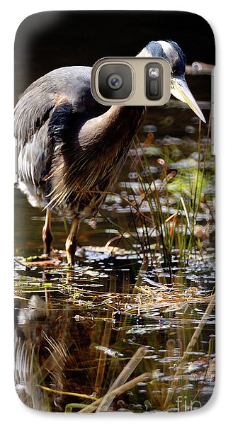 Galaxy Case featuring the photograph Great Blue Heron On The Hunt 2 by Terry Elniski