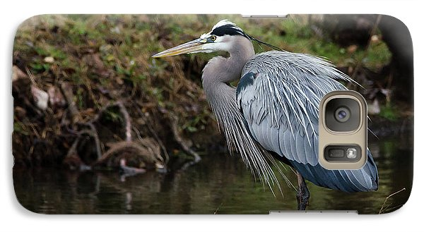 Galaxy Case featuring the photograph Great Blue Heron On The Watch by George Randy Bass