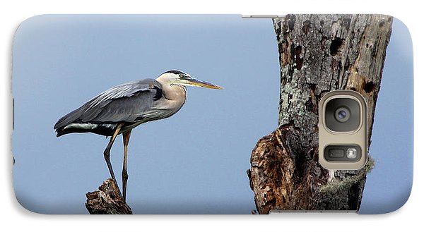 Galaxy Case featuring the photograph Great Blue Heron Perched by Barbara Bowen