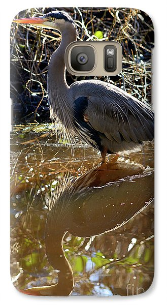 Galaxy Case featuring the photograph Great Blue Heron Reflection by Terry Elniski