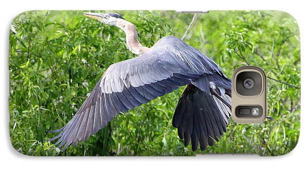 Galaxy Case featuring the photograph Great Blue Heron Takeoff by Barbara Bowen