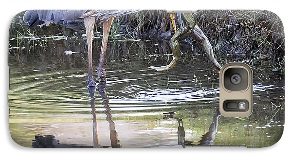 Great Blue Heron Vs Huge Frog Galaxy S7 Case by Ricky L Jones
