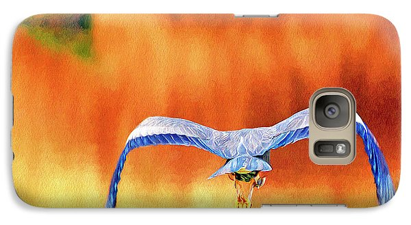 Galaxy Case featuring the digital art Great Blue Heron Winging It Photo Art by Sharon Talson