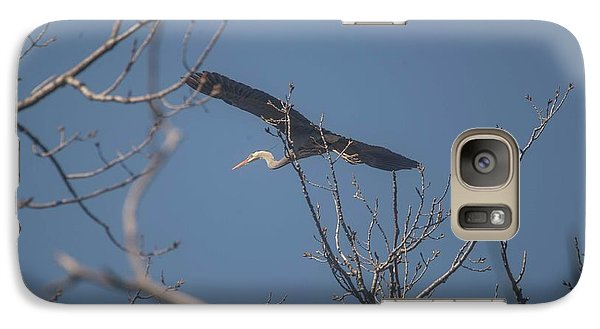 Galaxy Case featuring the photograph Great Blue In Flight by David Bearden