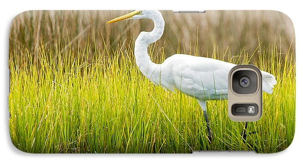 Galaxy Case featuring the photograph Great Egret In Cedar Point Marsh by Bob Decker
