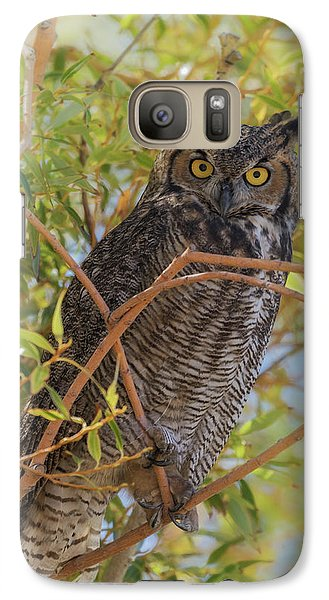 Galaxy Case featuring the photograph Great Horned Owl At Summer Lake by Angie Vogel