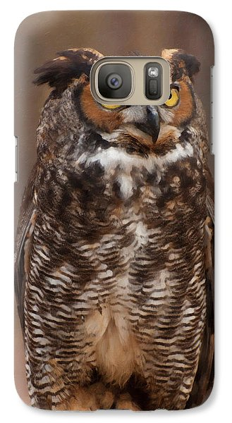 Galaxy Case featuring the digital art Great Horned Owl Digital Oil by Chris Flees