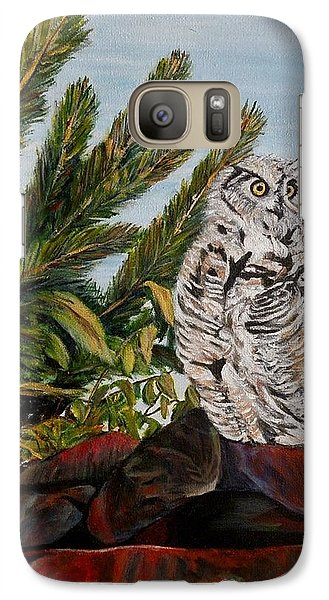 Galaxy Case featuring the painting Great Horned Owl - Owl On The Rocks by Marilyn  McNish