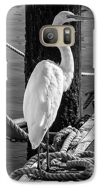 Great White Heron In Black And White Galaxy S7 Case