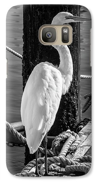Great White Heron In Black And White Galaxy S7 Case by Garry Gay